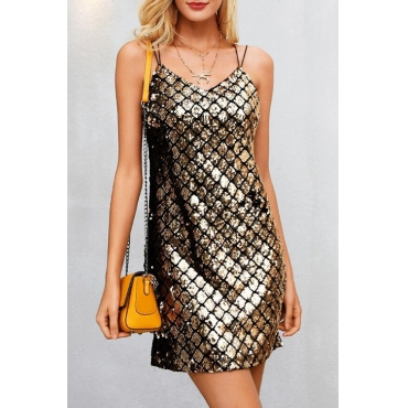 Lovely Sexy Spaghetti Strap Sleeveless Gold Sequined Sheath Mini Dress