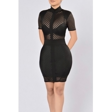 Lovely Sexy Mandarin Collar See-Through Black Polyester Sheath Mini Dress(Without Subcoating)