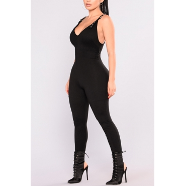 Lovely Fashion V Neck Backless Black Polyester One-piece Jumpsuits