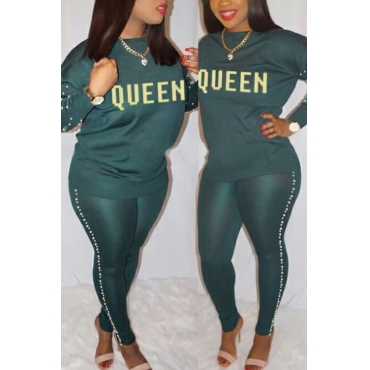 Lovely Casual Round Neck Gilt Letters Pearl Trim Green Cotton Two-Piece Pants Set