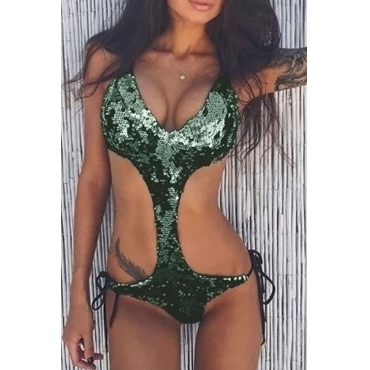 Lovely Sexy Lace-up Sequins Decoration Green Polyester One-piece Swimwears