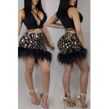 Lovely Sexy V Neck Sequins And Fur Decoration Black Polyester Two-piece Skirt Set