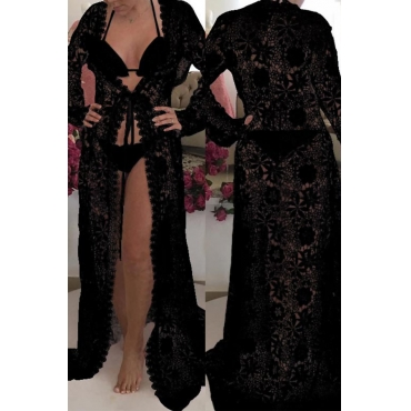Lovely Fashion Hollow-out Lace Spliced Black Polyester Cover-Ups(Without Subcoating)