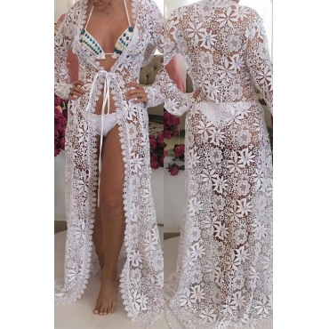 Lovely Fashion Hollow-out Lace Spliced White Polyester Cover-Ups(Without Subcoating)