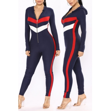LovelyCasual Hooded Collar Patchwork Deep Blue Polyester One-piece Jumpsuits