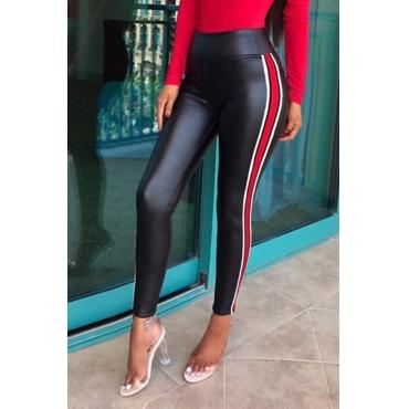 Lovely Fashion High Elastic Waist Striped Black PU Pants