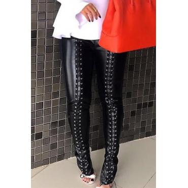 Lovely Fashion Mid Elastic Waist Lace-up Black PU Pants