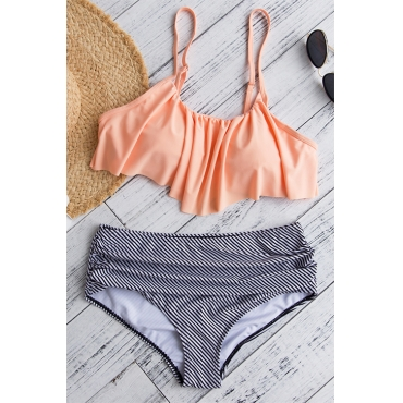 Lovely Sexy Falbala Design Striped Pink Polyester Two-piece Swimwears