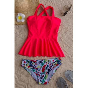 Lovely Pretty Ruffle Design Floral Printed Red Polyester Two-piece Swimwears