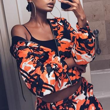 Lovely Euramerican Hooded Collar Camouflage Printed Orange Polyester Coat