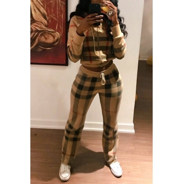 Lovely Fashion Hooded Collar Plaids Printed Polyester Two-piece Pants Set