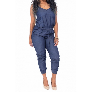 LovelyFashion Spaghetti Strap Sleeveless Drawstring Blue Denim One-piece Jumpsuits