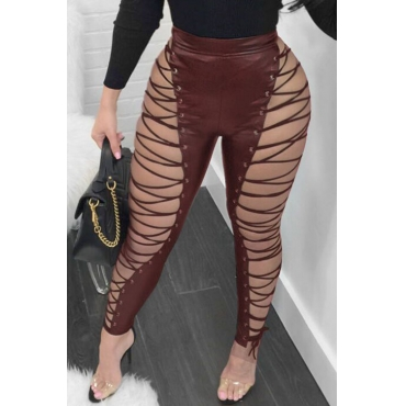 LovelyFashion High Elastic Waist Lace-up Hollow-out Wine Red Leather Pants