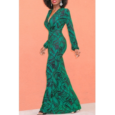 Lovely Sexy V Neck Lantern Sleeves Geometric Printed Green Polyester Ankle Length Dress