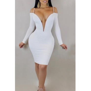 Lovely Sexy Deep V Neck Dew Shoulder White Milk Fiber Knee Length Dress