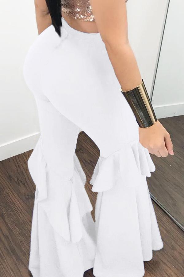 Lovelyeuramerican Alta Cintura Falbala Diseño Blanco Qmilch Pantalones