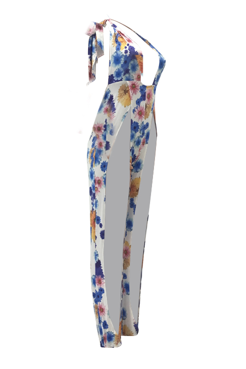 Lovely Sexy Halter Neck Backless Slit Design Floral Printed Polyester One-piece Jumpsuits