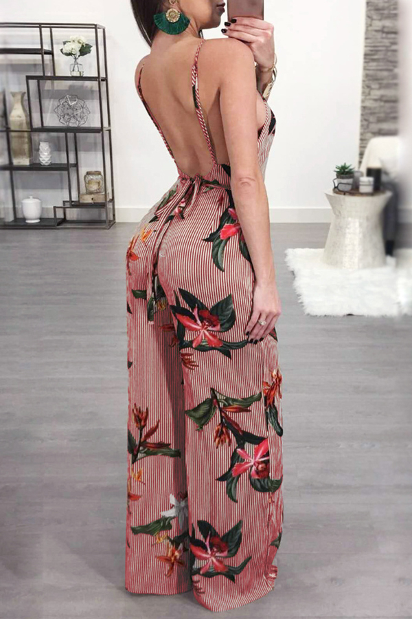 Lovely Sexy Spaghetti Strap Sleeveless Backless Floral Printed Red Polyester One-piece Jumpsuits
