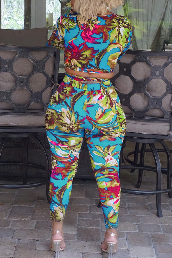 Lovely Stylish V Neck Bandage Floral Printed Slit Blue Qmilch Two-Piece Pants Set