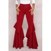 Симпатичный Модный Mid Waist Falbala Застежка -молния Дизайн Вино Красный Полиэстер Свободные Брюки