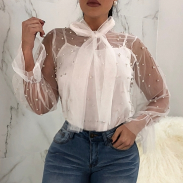 Lovely Fashion Turtleneck See-Through Nailed Pearl Bow Tie White Polyester Shirts(Without Subcoating)