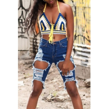 Lovely Fashion Mid Waist Broken Holes Blue Denim Zipped Shorts
