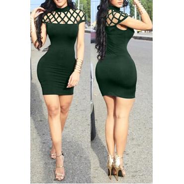 Lovely Sexy Round Neck Sleeveless Hollow-out Army Green Milk Fiber Sheath Mini Dress