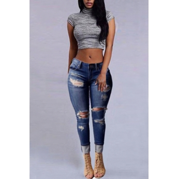 LovelyStylish High Waist Broken Holes Dark Blue Denim Jeans