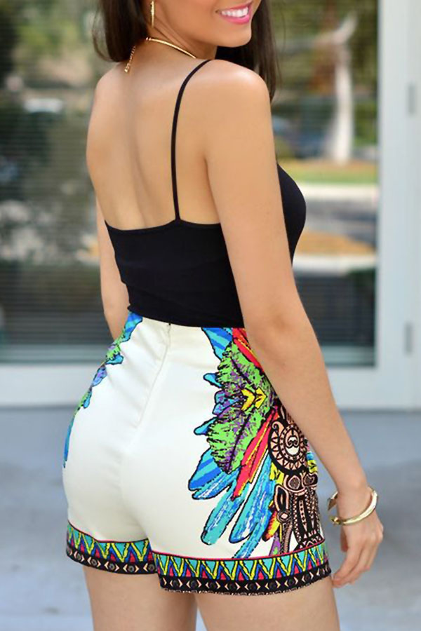 Lovely Sexy Spaghetti Strap Sleeveless Printing Black Polyester One-piece Short Jumpsuits(Without Necklace)