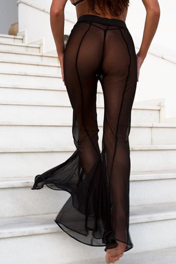 Lovely Sexy High Elastic Waist Mesh Hollow-out Flared Black Polyester Pants(Without Briefs)