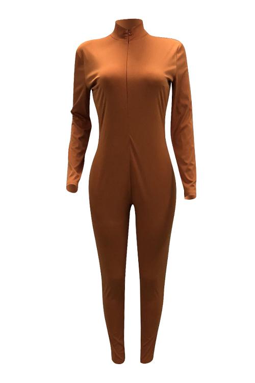 LovelyTrendy V Neck Zipper Design Brown Polyester One-piece Jumpsuits