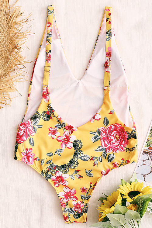 Lovely Sexy V Neck Backless Floral Printed Yellow Polyester One-piece Swimwears