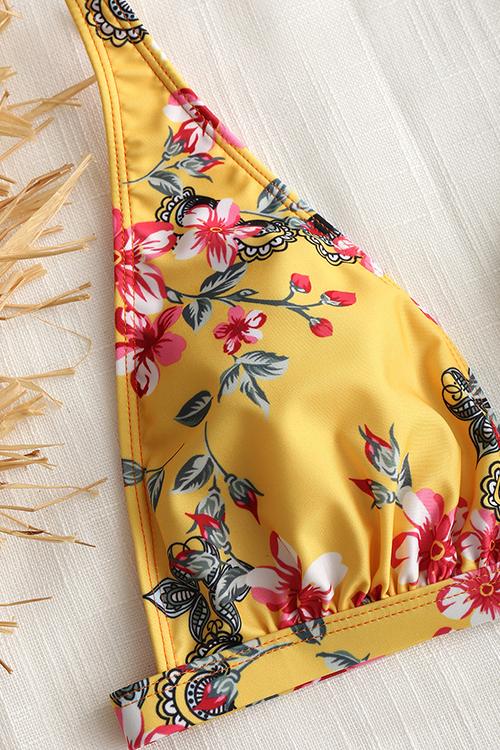 Trajes De Baño De Dos Piezas De Poliéster Amarillo Impresos Florales Atractivos Sin Respaldo Hermosos