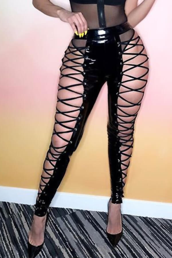 LovelyFashion High Elastic Waist Lace-up Hollow-out Black Leather Pants