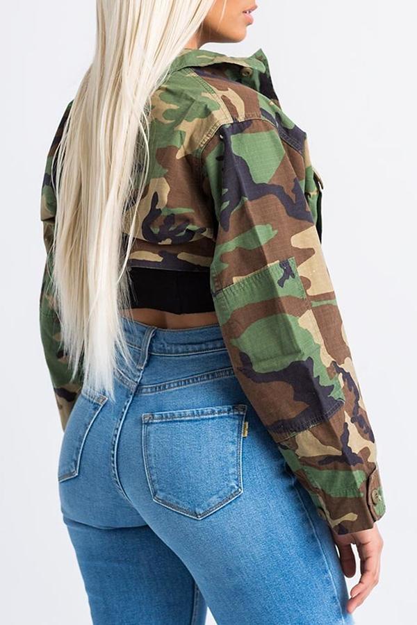 LovelyTrendy Turndown Collar Long Sleeves Single Breasted Camouflage Cotton Blends Short Coat