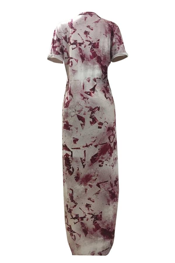 Lovely Trendy Printed Asymmetrical Red Milk Fiber Ankle Length Dress