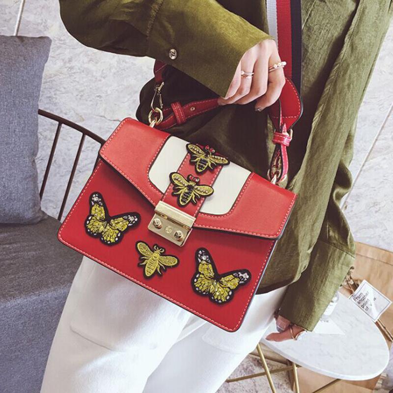 Borsa Elegante Con Pochette In PU Rosso Decorativo Con Patta A Farfalla