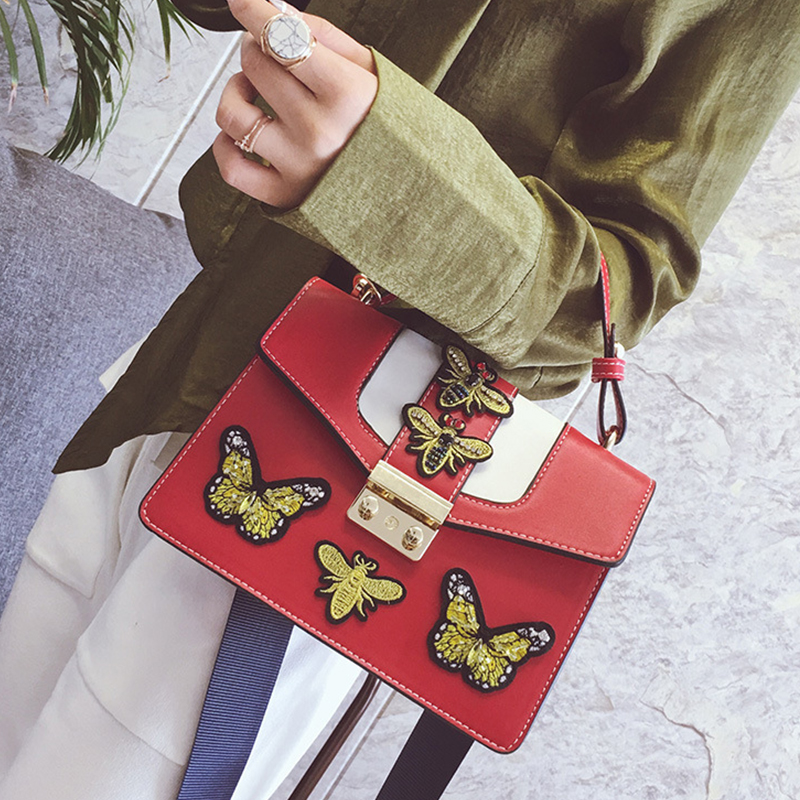 Lovely Chic Butterfly Decorative Hasp Design Red PU Clutches Bag