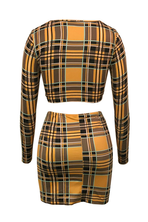 Lovely Fashion Round Neck Plaid Printed Yellow Polyester Two-Piece Skirt Set