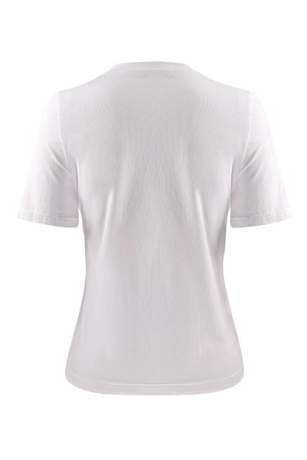 T-shirt In Cotone Bianco Con Stampa Maniche Corte A Maniche Corte A Manica Corta