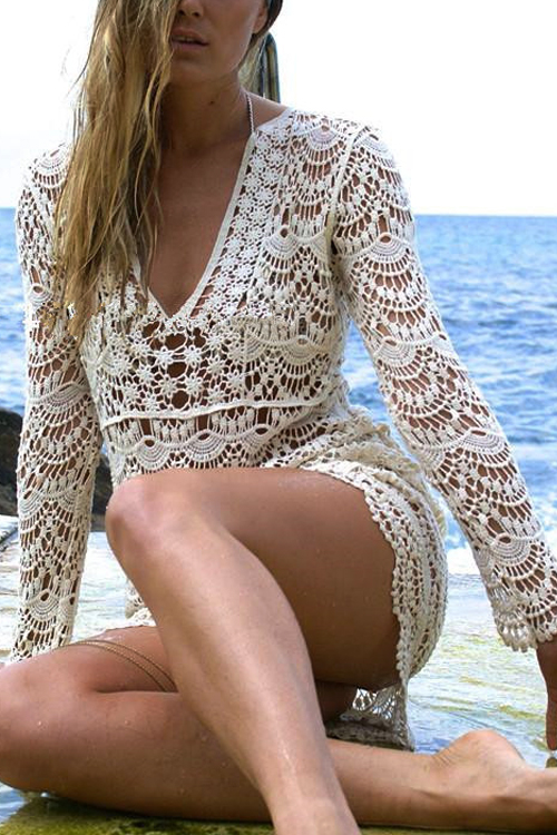 Lindo Sexy V Neck Lace Oco-out Poliéster Bege + Spandex Cover-ups