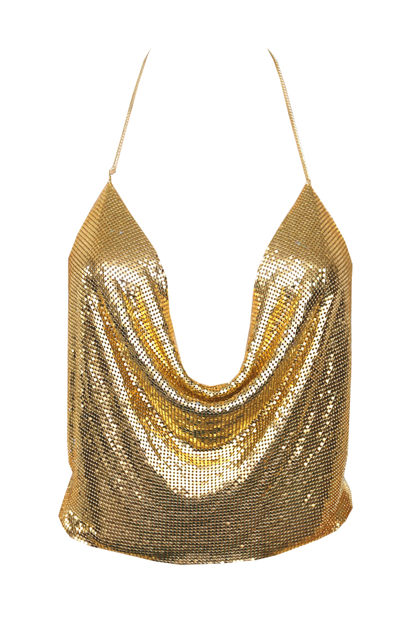 Lovely Sexy V Neck Backless Sequins Decoration Gold Polyester Tank Top(Without Accessories)