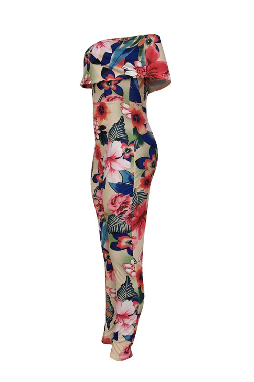 Lovely Sexy Bateau Neck Flounce Floral Printed Pink Polyester One-piece Jumpsuits