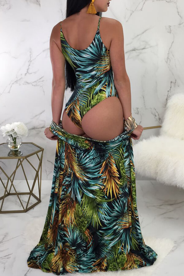 Lovely Sexy Lace-up Leaf Printed Green One-piece Swimwear(With Cover-up)