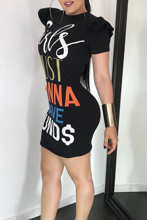 Letras Del Cuello Redondo Informal Encantador Impreso Mini Vestido De La Envoltura De Poliéster Negro