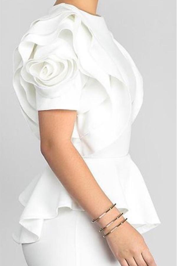 Lovely Pretty Round Neck Short Sleeves Flounce White Nylon Shirts