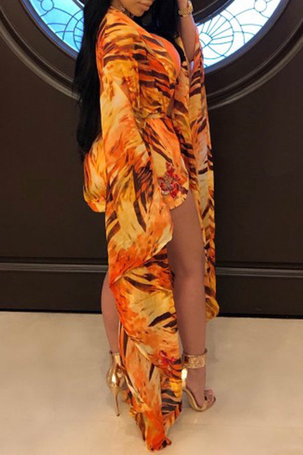 Lovely Sexy U Neck Printing Orange Polyester One-piece Swimwears(With Cover-Ups)
