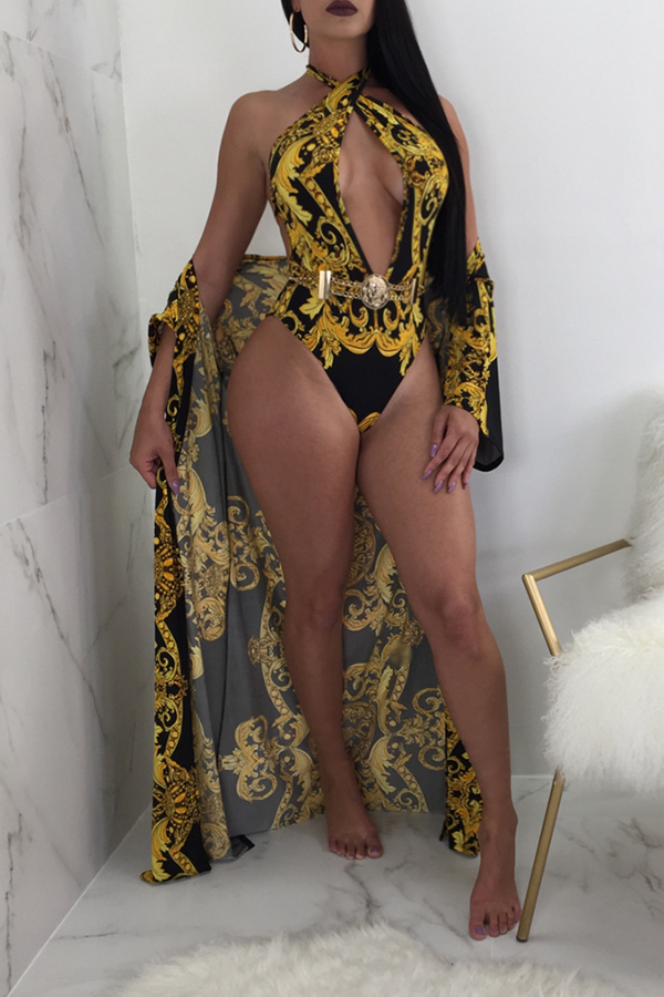 Lovely Sexy V Neck Printing Black Polyester One-piece Swimwears(With Cover-ups)
