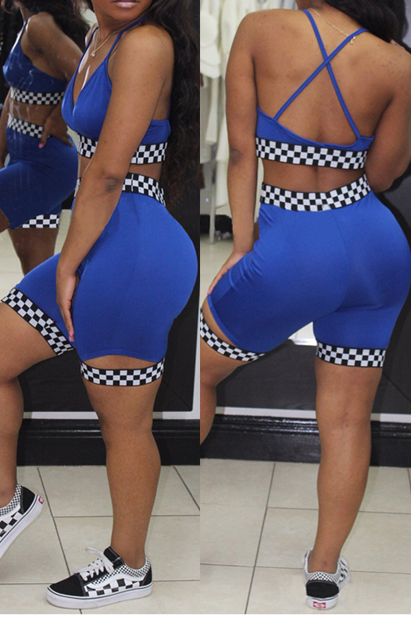 Precioso Sexy Cuello En V Plaid Impreso Azul Poliéster De Dos Piezas Conjunto De Pantalones Cortos