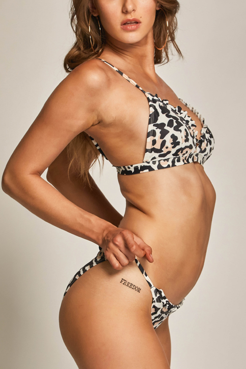 Lovely Chic Ruffle Leopard Printed Spandex Two-Piece Swimwears